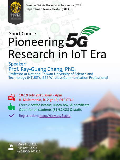 """Call for participants – short course """"Pioneering 5G Research in IoT Era"""""""